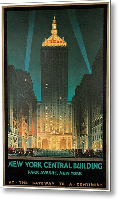New York Central Building Metal Print by Chesley Bonestell