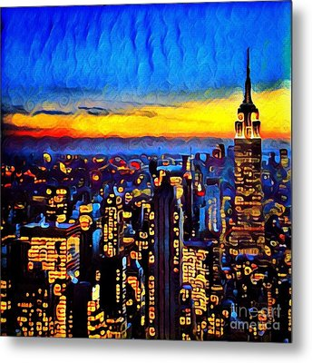 New York City At Sunset Metal Print by Amy Cicconi