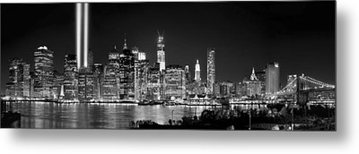 New York City Bw Tribute In Lights And Lower Manhattan At Night Black And White Nyc Metal Print by Jon Holiday