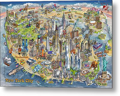 New York City Illustrated Map Metal Print by Maria Rabinky