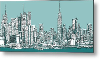 New York City In Blue-green Metal Print by Building  Art