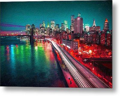New York City Lights Red Metal Print by Tony Rubino