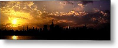 New York City Skyline At Sunset Panorama Metal Print by Vivienne Gucwa