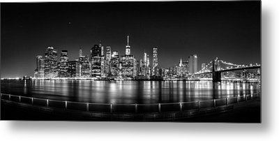 New York City Skyline Panorama At Night Bw Metal Print by Az Jackson