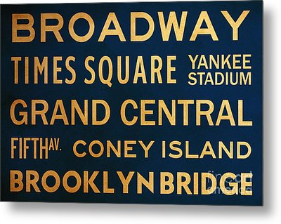 New York City Subway Sign Typography Art 4 Metal Print by Nishanth Gopinathan