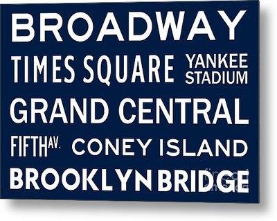 New York City Subway Sign Typography Art 6 Metal Print by Nishanth Gopinathan