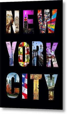 New York City Text 1 Metal Print by Az Jackson
