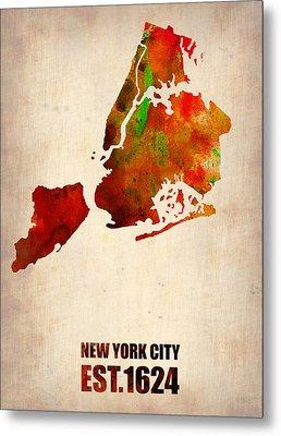 New York City Watercolor Map 2 Metal Print by Naxart Studio