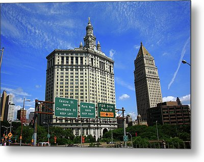 New York City With Local Traffic Signs Metal Print by Frank Romeo