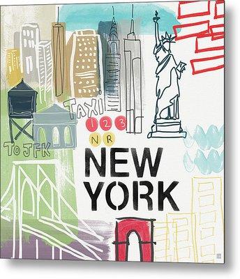 New York Cityscape- Art By Linda Woods Metal Print by Linda Woods