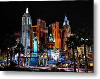 New York New York Hotel And Casino Metal Print by Eddie Yerkish