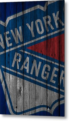 New York Rangers Wood Fence Metal Print by Joe Hamilton