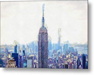 New York Skyline Art- Mixed Media Painting Metal Print by Wall Art Prints