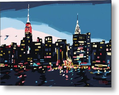 New York Skyline At Dusk In Navy Blue Teal And Pink Metal Print by Beverly Brown Prints