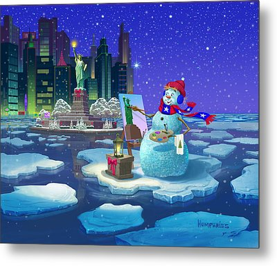 New York Snowman Metal Print by Michael Humphries