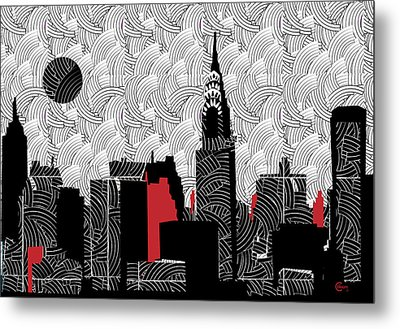 New York City Skyline Swing  Metal Print by Cecely Bloom