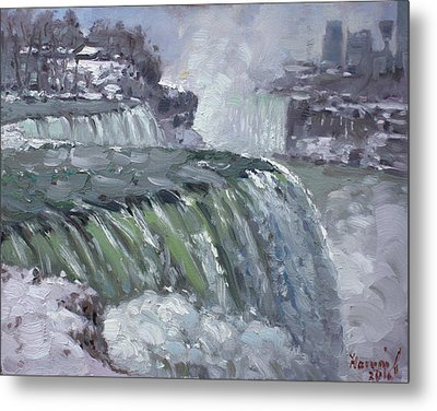 Niagara Falls In Winter  Metal Print by Ylli Haruni