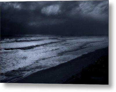 Night Beach - Jersey Shore Metal Print by Angie Tirado