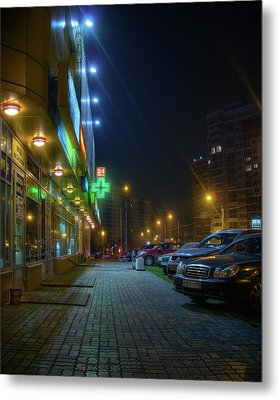 Night In Moscow - Yellow Store Metal Print by Alexey Kljatov