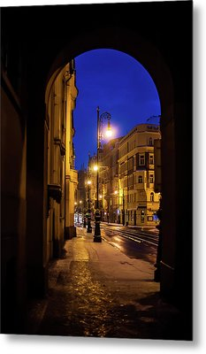 Night Lights Of Prague Streets Metal Print by Jenny Rainbow