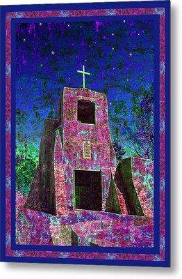 Night Magic San Miguel Mission Metal Print by Kurt Van Wagner