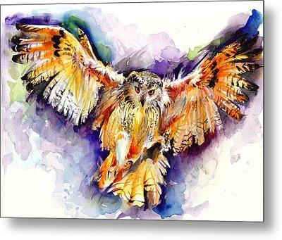 Night Owl Watercolor, Hunting Owl, Flying Brown Owl Metal Print by Tiberiu Soos
