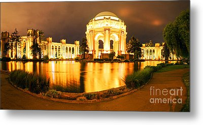 Night Panorama Of Palace Of Fine Arts Theater In Marina District - San Francisco California Metal Print by Silvio Ligutti