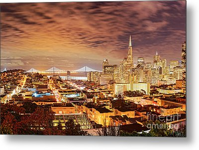 Night Panorama Of San Francisco And Oak Area Bridge From Ina Coolbrith Park - California Metal Print by Silvio Ligutti