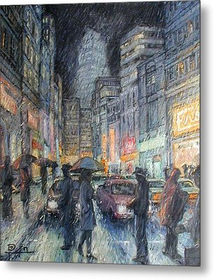 Night Rain Metal Print by Henry David Potwin