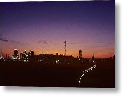 Night View Of An Industrial Plant Metal Print by Kenneth Garrett