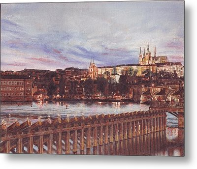 Night View Of Charles Bridge And Prague Castle Metal Print by Gordana Dokic Segedin