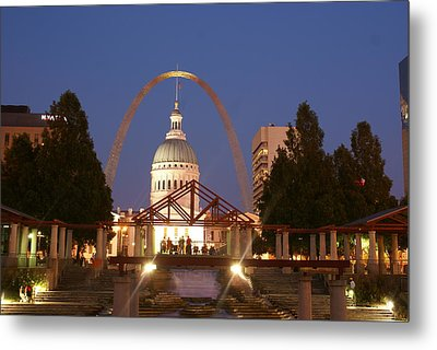 Nighttime At The Arch Metal Print by Marty Koch