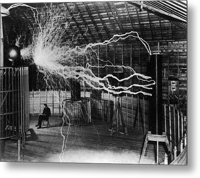 Nikola Tesla - Bolts Of Electricity Metal Print by War Is Hell Store