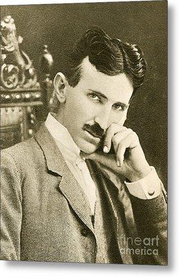 Nikola Tesla, Serbian-american Inventor Metal Print by Photo Researchers