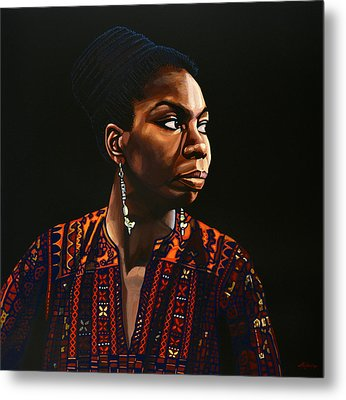 Nina Simone Painting Metal Print by Paul Meijering