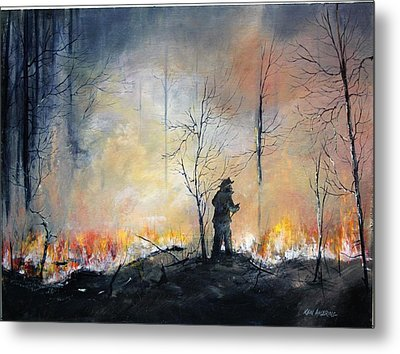 Nj Forrest Fire Metal Print by Ken Ahlering