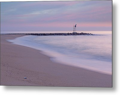 Nj Shore Jetty First Light Metal Print by Susan Candelario