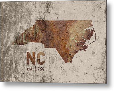 North Carolina State Map Industrial Rusted Metal On Cement Wall With Founding Date Series 022 Metal Print by Design Turnpike