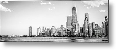 North Chicago Skyline Panorama In Black And White Metal Print by Paul Velgos