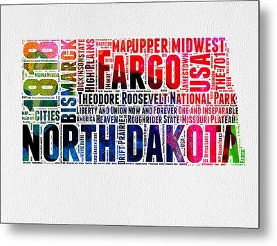 North Dakota Watercolor Word Cloud  Metal Print by Naxart Studio