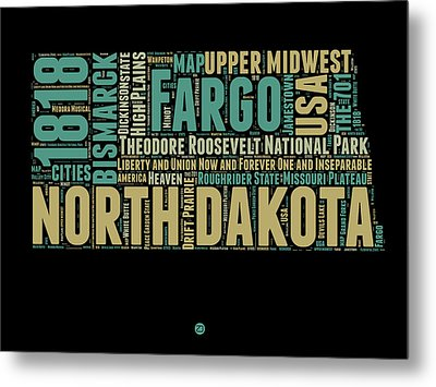 North Dakota Word Cloud 1 Metal Print by Naxart Studio