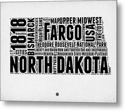 North Dakota Word Cloud 2 Metal Print by Naxart Studio