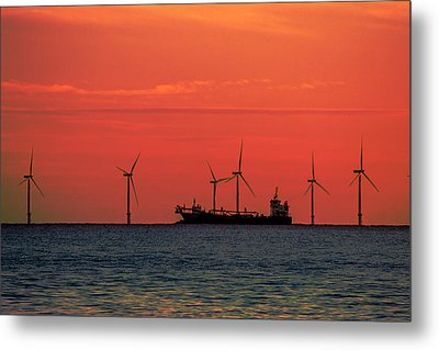 North Sea Wind Farm Metal Print by Martin Newman