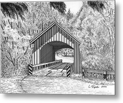 North Yachats Covered Bridge Metal Print by Lawrence Tripoli