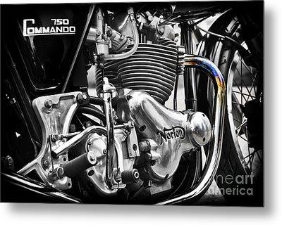 Norton Commando 750cc Cafe Racer Engine Metal Print by Tim Gainey