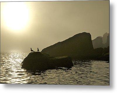 Norway, Tromso, Silhouette Of Pair Metal Print by Keenpress