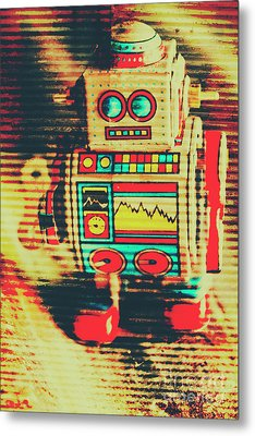 Nostalgic Tin Sign Robot Metal Print by Jorgo Photography - Wall Art Gallery