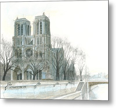 Notre Dame Cathedral In March Metal Print by Dominic White