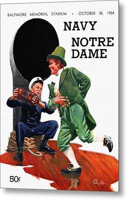 Notre Dame V Navy 1954 Vintage Program Metal Print by Big 88 Artworks