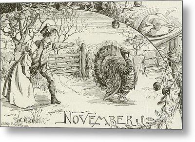 November   Vintage Thanksgiving Card Metal Print by American School